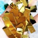 Sequins, Gold colour, 10mm x 33mm, 39 pieces, 5g, Rectangular, Sequins are shiny, [CZP615]